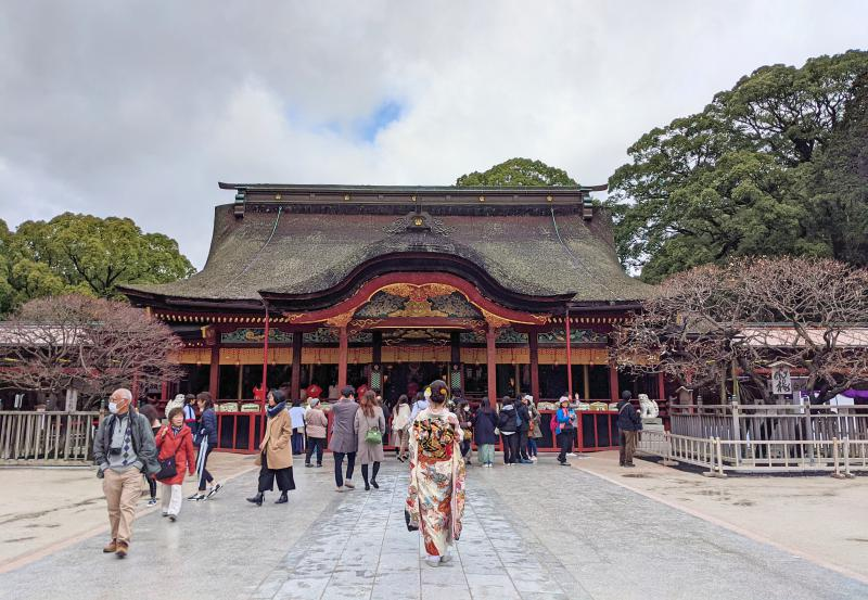 Dazaifu Tenmangu Shrine is one of the top things to do on your Dazaifu itinerary. It's a gorgeous temple with lots of people visiting.