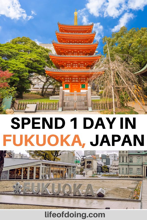 During your one day in Fukuoka, you'll see incredible sites such as the Tochoji Temple for the red pagoda and the Tenjin Central Park.