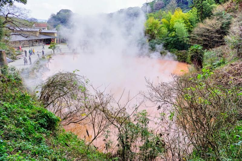 Check out the orange hot springs at Chinoike Jigoku, one of the Seven Hells of Beppu in Beppu, Japan