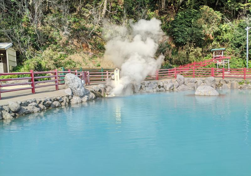 Kamado Jigoku, one of the Seven Hells of Beppu, has various hot springs and colors such as this cobalt water.