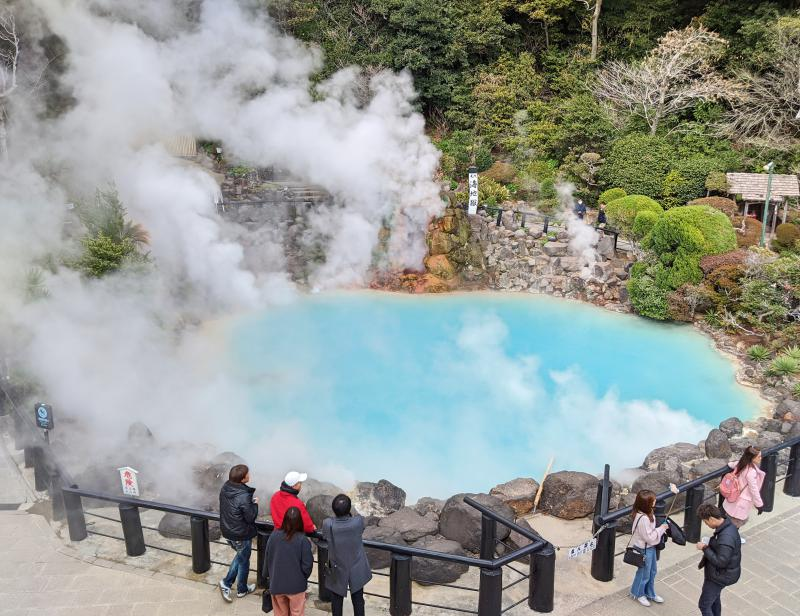 Umi Jigoku has cobalt blue waters and steam and is a popular Hells of Beppu site to visit.
