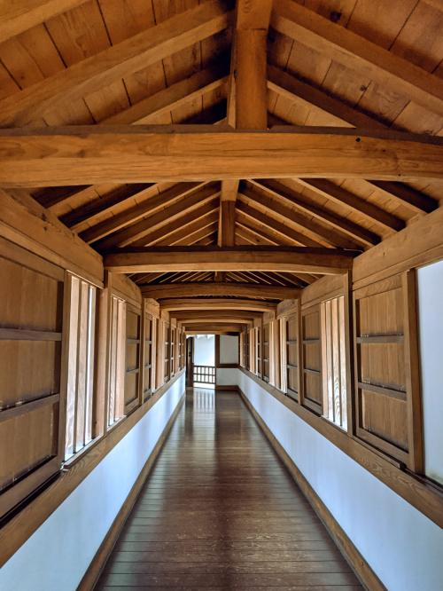 A long and empty hallway in the Hyakken Roka part of the Himeji Castle.
