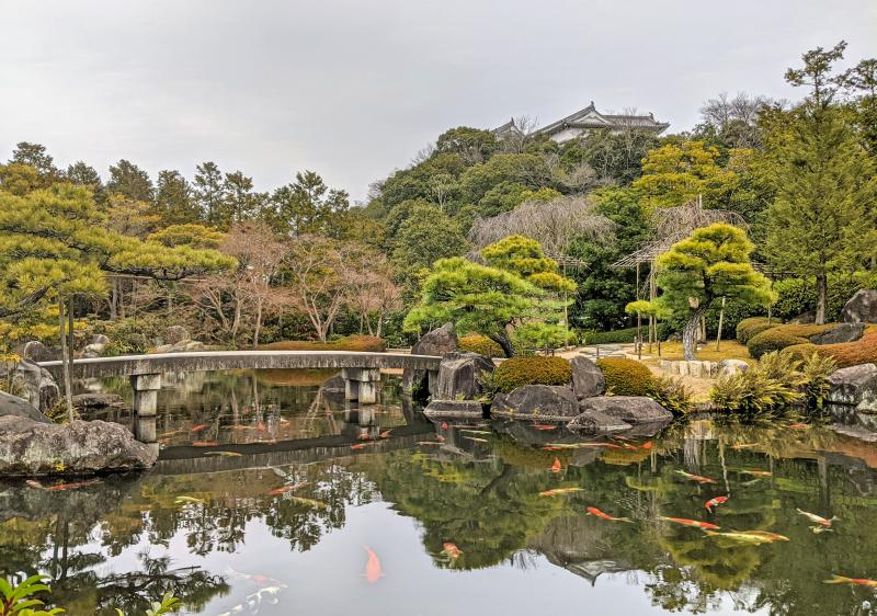 Koko-en Garden is a top attraction to visit while you're in Himeji, Japan. The view of the bridge over the pond and the koi in the pond is beautiful.
