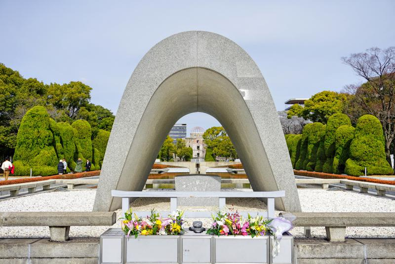 The Cenotaph for Atomic Bomb Victims in the Hiroshima Peace Memorial Park is a good place to pay your respects to those who passed.