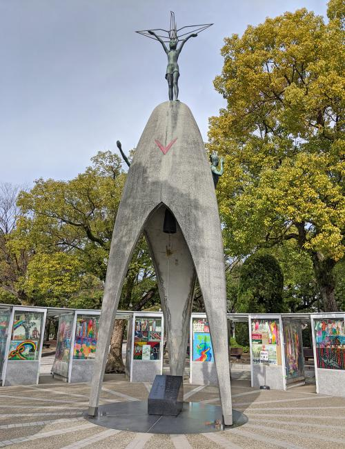 During your 2 days in Hiroshima itinerary, check out the Children's Peace Monument to see a large statue with a girl holding a crane and children's artwork of world peace.