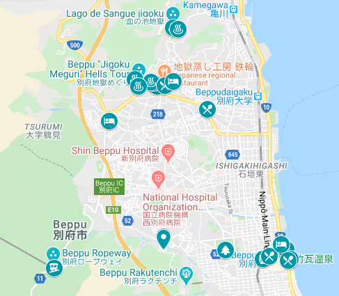 Map of where to go on your one day in Beppu, Japan itinerary.