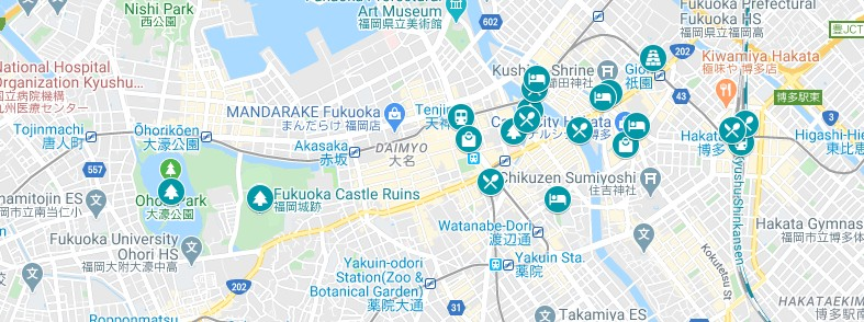 Map of the where to go on your one day Fukuoka itinerary.