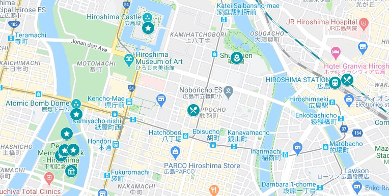 Map of the places to visit in Hiroshima on your 2 days in Hiroshima itinerary.