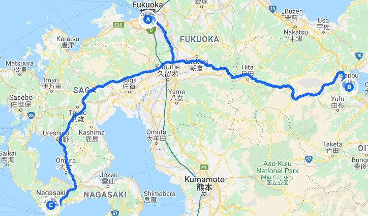 This is a map of the Northern Kyushu cities you'll visit on your 1 week Kyushu itinerary.