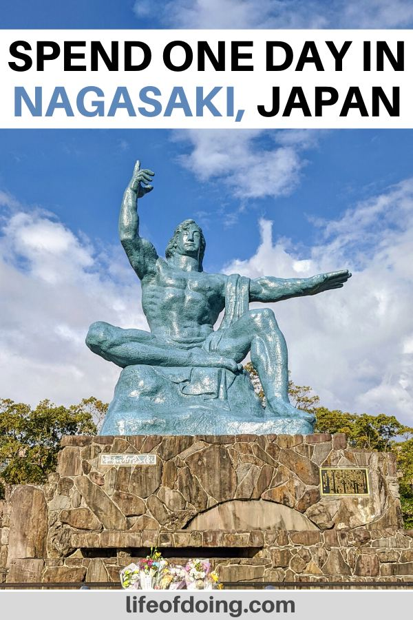 During your one day in Nagasaki itinerary, visit the Peace Park to see the Peace statue.