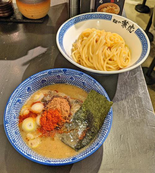 This is the mild tsukemen at Menya Kanetora ramen in Fukuoka, Japan. You have a separate bowl for noodles and you dip your noodles in the broth.