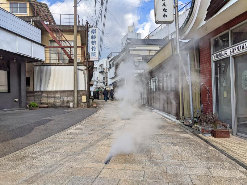 Walk through the empty streets to see steam coming out of the vents from the ground during your one day in Beppu, Japan.