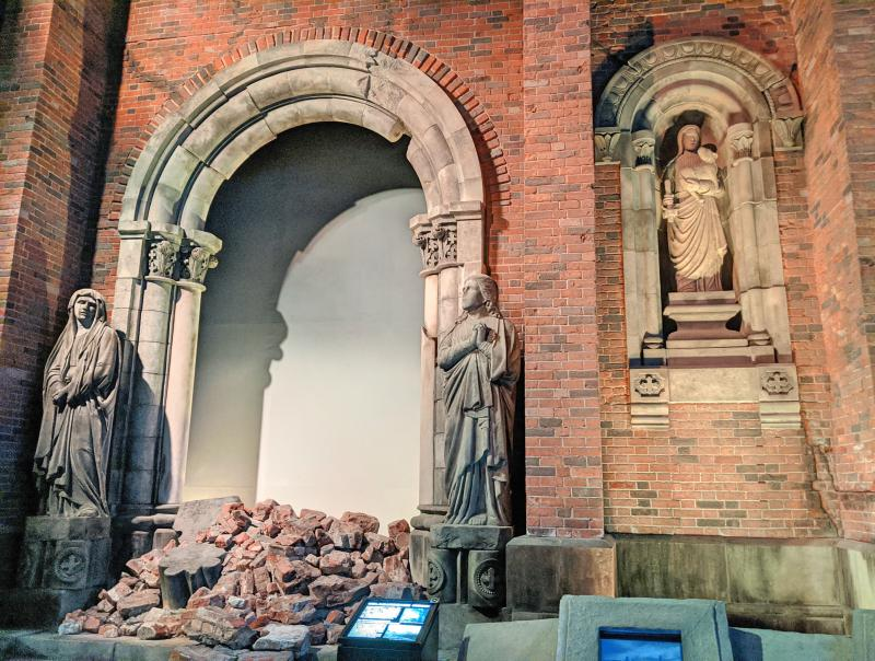 Explore the replica of the ruins of Urakami Cathedral at the Nagasaki Atomic Bomb Museum on your one day in Nagasaki, Japan