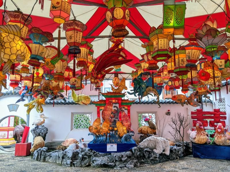 Colorful lanterns and displays for the Nagasaki Lantern Festival in Nagasaki, Japan