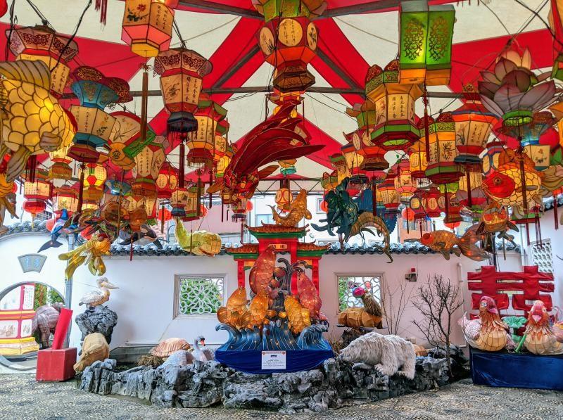 Colorful lanterns and displays for the Nagasaki Lantern Festival in Nagasaki, Japan