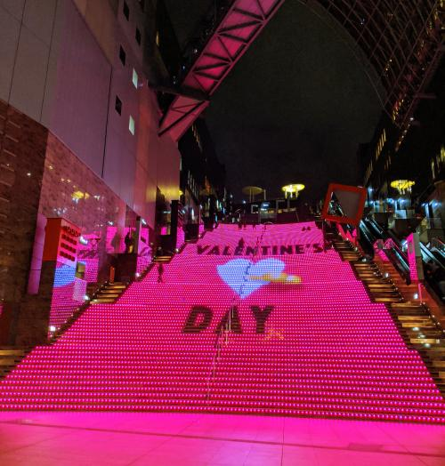 Check out Kyoto Station's Big Staircase which has illuminating lights and music during the evenings. The staircase message changes depending on the season.