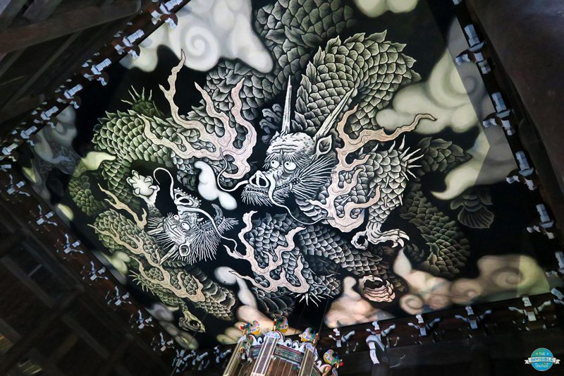 The hand painted dragon at the ceiling of Kennin-ji Temple in Kyoto, Japan