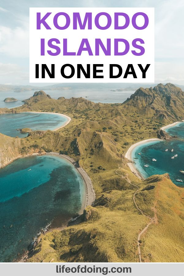 Aerial view of Padar Island with the three turquoise bays. Padar Island is one of the Komodo Islands that you visit on your day trip to Komodo National Park.