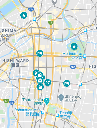 Map of places to visit in Osaka in 1 day