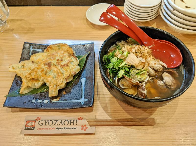 Gyozoah Restaurant in Osaka, Japan has delicious and cheap foods such as gyozas (dumplings) and clam ramen.