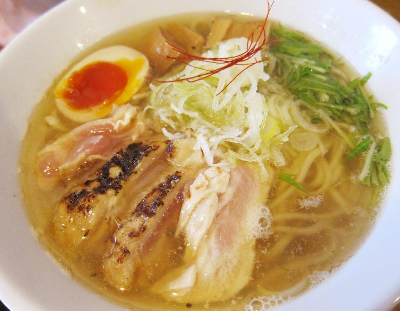 Junk Story is a ramen shop in Osaka, Japan that specializes in its shio chicken ramen broth.
