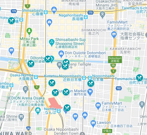 This map highlights the cheap places to eat in Osaka, Japan.