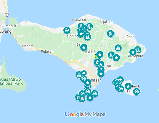 Map of where to go during your 2 weeks in Bali itinerary.