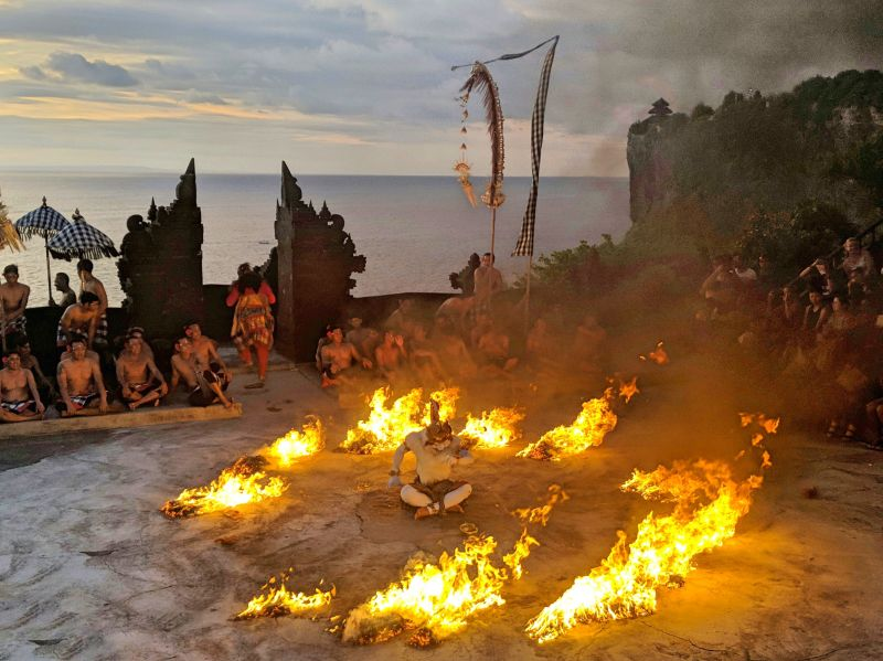 Watching the Kecak Fire Dance at Uluwatu Temple in Bali, Indonesia