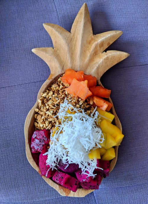 Acai Queen in Bali's Ubud area has acai bowls with fresh tropical fruits such as mango, papaya, dragon fruit and topped with granola and dried coconut.