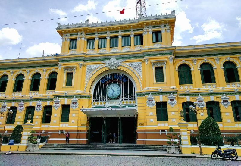 The yellow and white Central Post Office in Ho Chi Minh City, Vietnam is an important landmark to visit in the city.