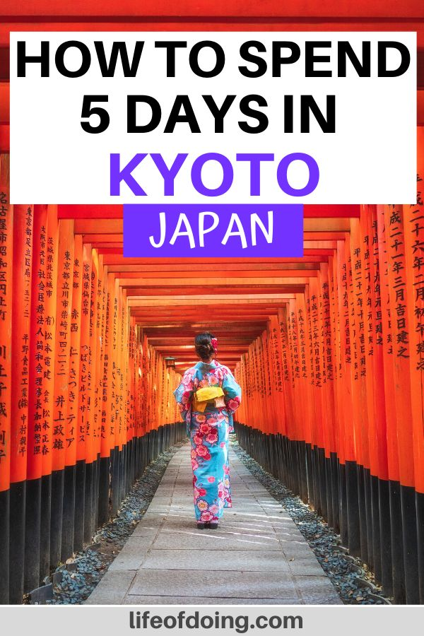 One of the top places you must visit is Fushimi Inari Shrine during your 5 days in Kyoto, Japan. The vermillion torii gates are gorgeous!