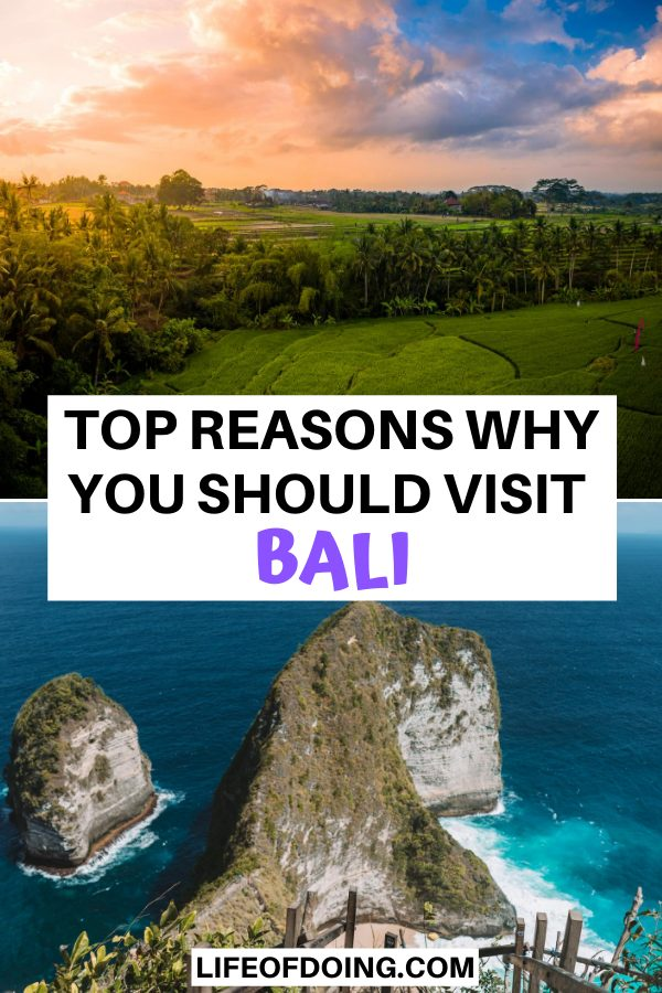 Visiting Bali, Indonesia needs to be on everyone's travel bucket list. The top reasons include seeing beautiful rice fields at sunrise and cliffside views of the ocean such as Kelingking Beach on Nusa Penida.
