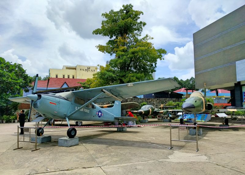 War Remnants Museum has old U.S. airplanes, helicopters, and tanks on display that were used during the Vietnam War.