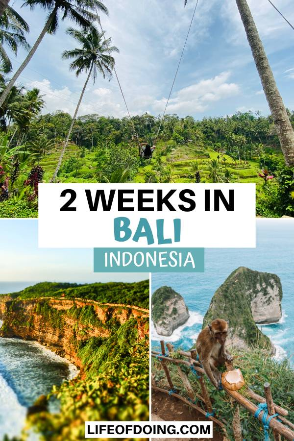 During your two weeks in Bali, you'll experience amazing experiences such as Bali swings, viewing gorgeous landscapes of the cliffside, and visiting Nusa Penida to see the iconic Kelingking Beach.