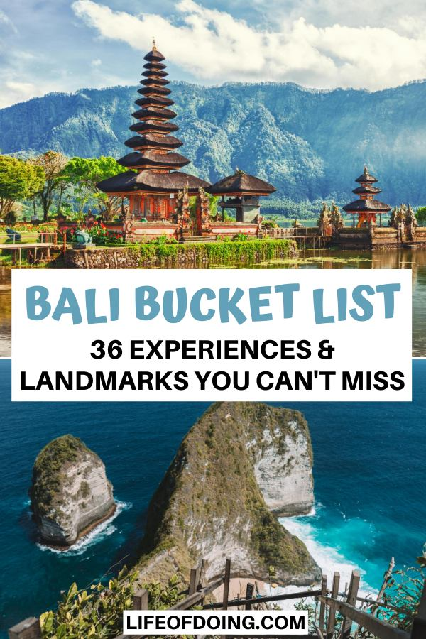 The Hindu temple, Ulun Danu Beratan Temple and famous cliffside Kelingking Beach are two of the top attractions to add to the Bali bucket list.