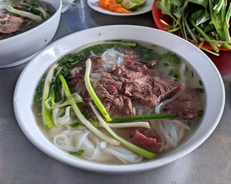 Bowl of beef pho (noodle soup) in Vietnam