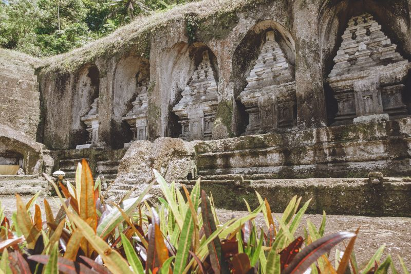Gunung Kawi Temple in Bali has a row of carved rocks.