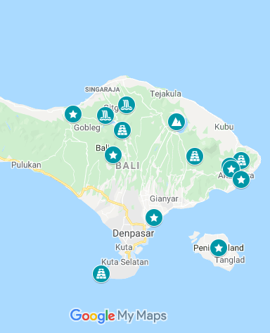 Map of day trips to take from Ubud, Bali, Indonesia