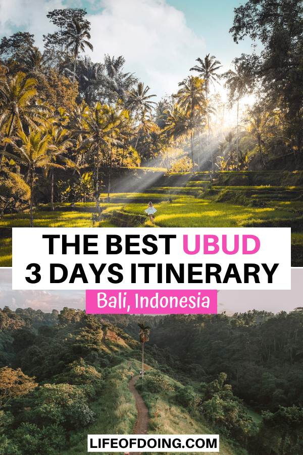 During your Ubud 3 days itinerary, stop by attractions such as the Tegalalang rice terraces and the Campuhan Ridge Walk.