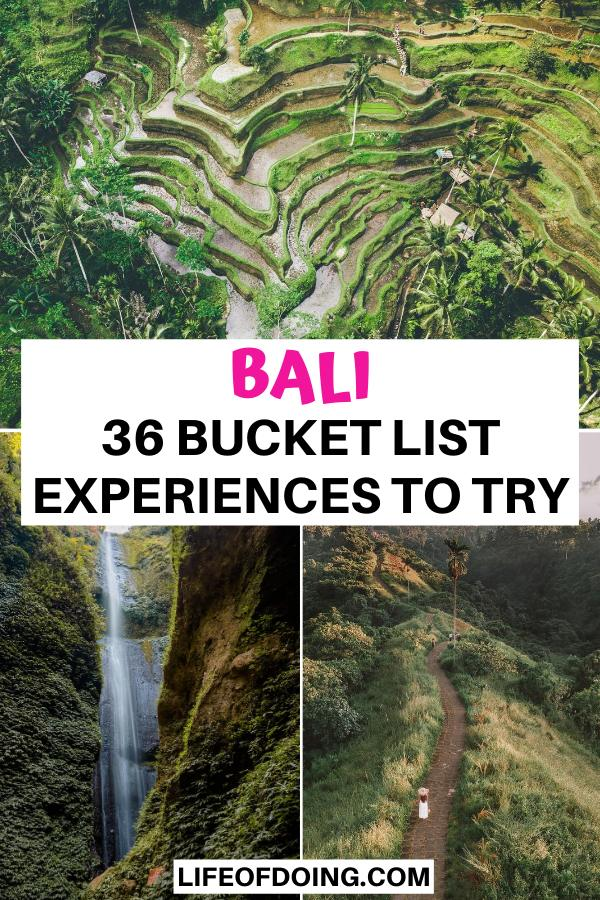 This Bali bucket list highlights 36 exciting places to visit such as rice terraces, waterfalls, and walking trails.
