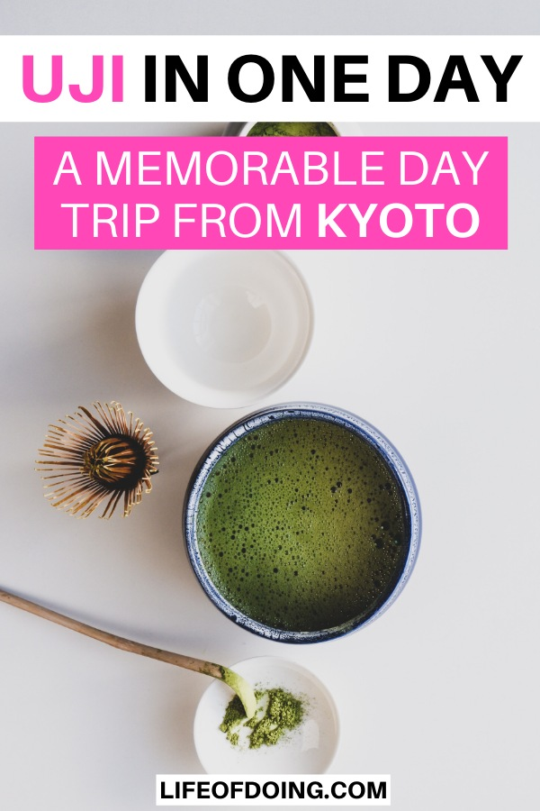 Matcha green tea ceremony with matcha powder, whisk, and a cup of matcha tea.