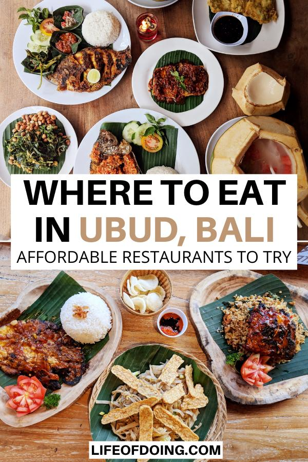 Indonesian and Balinese food to try such as tempeh, pork ribs, and fish when you're in Bali's Ubud area, Indonesia.