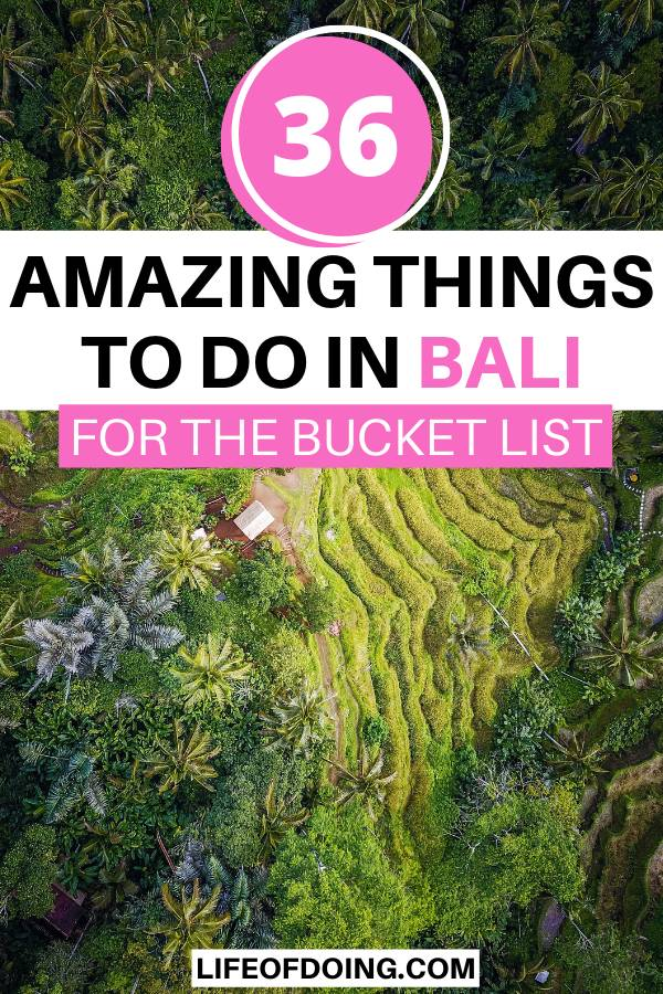 Aerial view of Bali's green rice fields and palm trees as it's one of the best things to do in Bali.