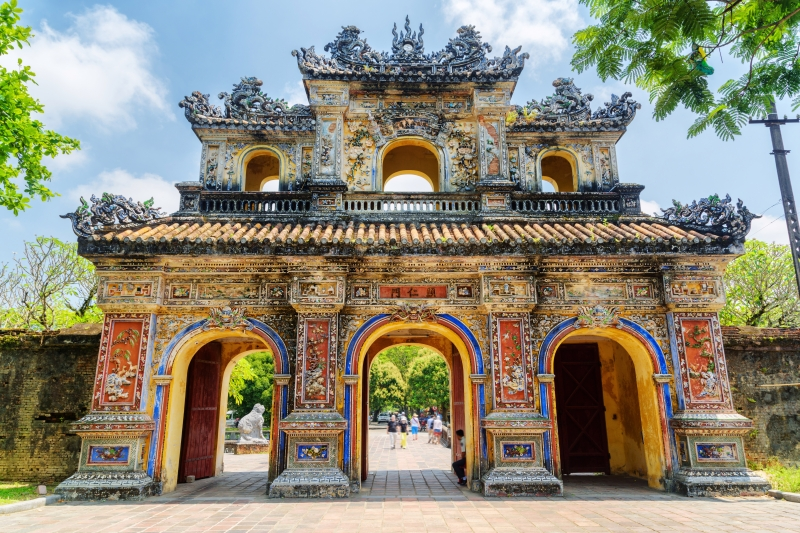 Colorful Hien Nhon Gate (East Gate) which leads to the Imperial City in Hue, Vietnam