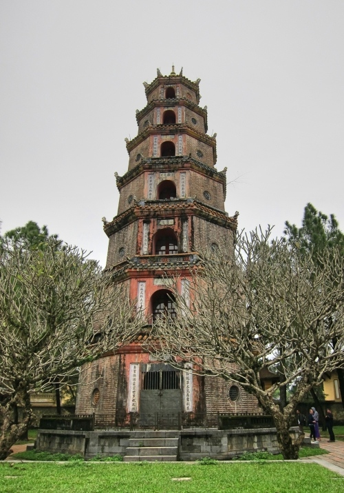 A 7-storied pagoda with Chinese architecture at Thien Mu Pagoda in Hue, Vietnam