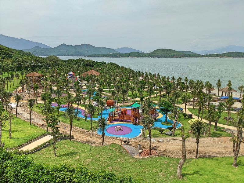 View of the children playground being built from Hon Viet Restaurant on Hon Tam Island, Vietnam