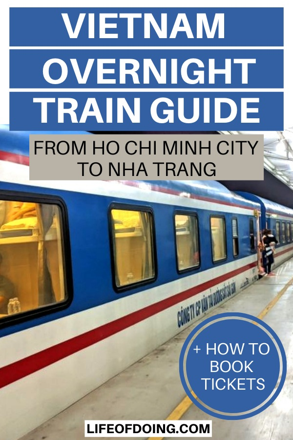 An overnight train waiting on the platform from Ho Chi Minh City to Nha Trang, Vietnam