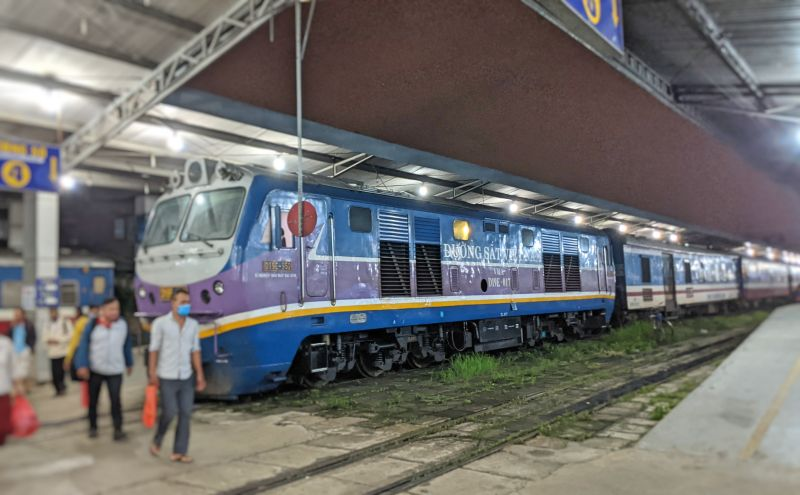 People depart the overnight train Ho Chi Minh City's Hoa Hung Railway Station in the early morning.