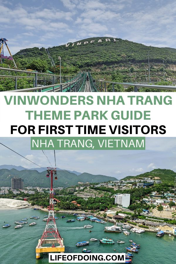 Top photo is Vinpearl sign on a green mountain and bottom photo is a view of boats in the ocean and Nha Trang city from the VinWonders Nha Trang cable car