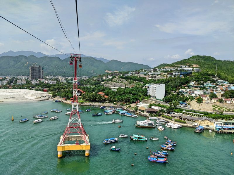 View of Nha Trang City and the ocean from the VinWonders Nha Trang cable car.